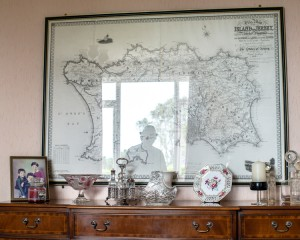 Osmond Simon in his dining room at Westways, Le Mont Rossignol,